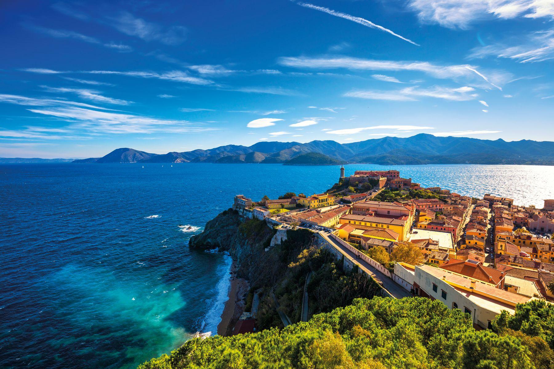 Elba island Portoferraio aerial view. Lighthouse and fort. Tusc 502162530 8642x5761